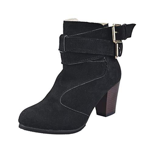 Stivaletti con tacco alto donna classici,homebaby scarpe da donna con fibbia per calzature calde moda scarpe autunno inverno lace up martin stivaletti donna basse cuneo ecopelle