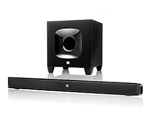 JBL Cinema SB 400 Heimkinosystem 2.1 Leistungsstarkes Soundbar-System mit 2 x 60 Watt Wireless Bluetooth Soundbar und 200 Watt Subwoofer mit HARMAN Display Surround-Technologie - Schwarz
