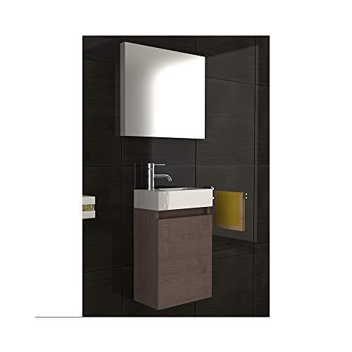 bad1a Badmöbel Komplettset mit Waschbecken aus Mineralguss, Unterschrank und Spiegel mit