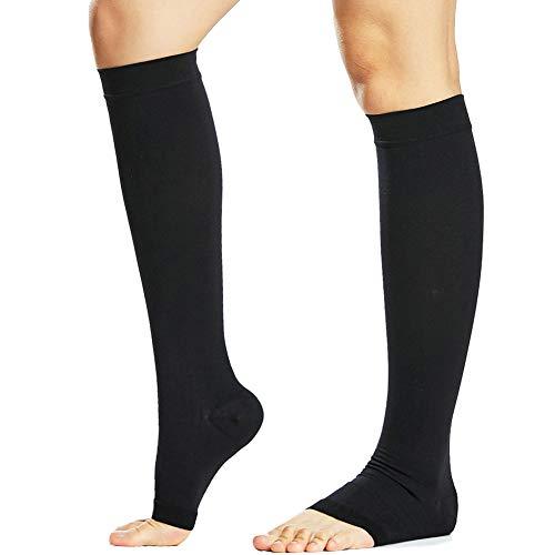 Beister Medical Kniestrümpfe mit offenem Zehen für Damen & Herren, feste, 20-30 mmHg abgestufte Stützstrümpfe für Krampfadern, Ödeme, Flug, Schwangerschaft