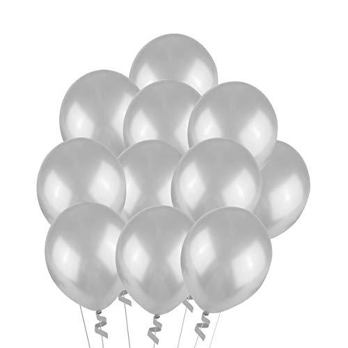 NUOLUX Luftballons Silber,Hochzeits Luftballons,12-Zoll-Latex-Ballon für Party, 100 Stück, (Silber)