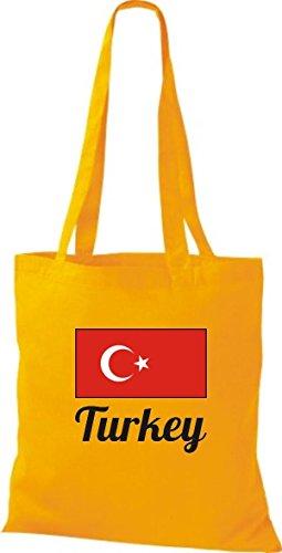 ShirtInStyle Stoffbeutel Baumwolltasche Länderjute Turkey Türkei Farbe Pink goldgelb