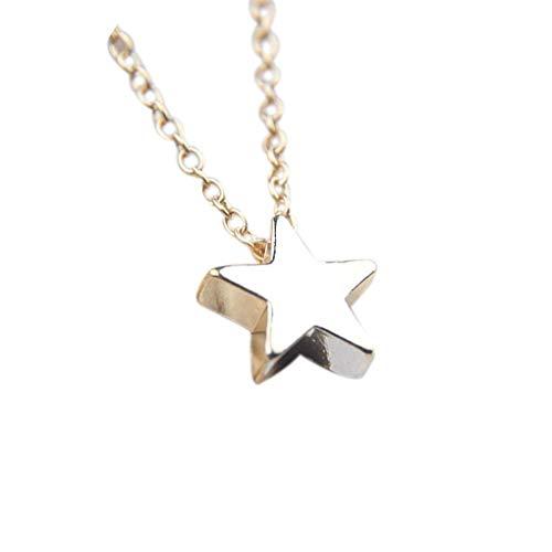 Frauen Thick-Mond-Stern-Muster-Halskette Mädchen Einfacher Kupfer Hals Anhänger Schmuck Geburtstag Souvenirs