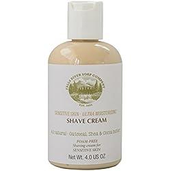 Piel sensible, crema de afeitar sin espuma natural e hidratante con avena, aloe vera, manteca de karité y de coco, 4 FL OZ