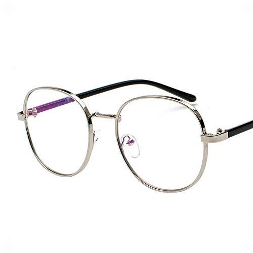 Easy Go Shopping Anti-Blue Light Round Frame Brille Metall flachen Spiegel in der Nähe von Brillengestell. Sonnenbrillen und Flacher Spiegel (Farbe : D)