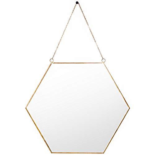 YANZHEN Spiegel An Der Wand Befestigte Geometrische Hexagon-Ketten-Stabile Europäische Art-Moderne Einfachheit Schönes Dekorations-Eisen, 2 Größe (Farbe : Gold, größe : 24x0.5x21cm)