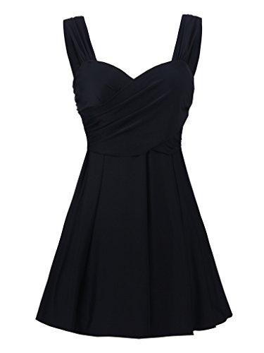 JerrisApparel Damen Push Up Badeanzug kleid Tankini Zweiteilig Swimsuit (EU Size 40-42 (Tag Size 46), (Badeanzug Kleid)