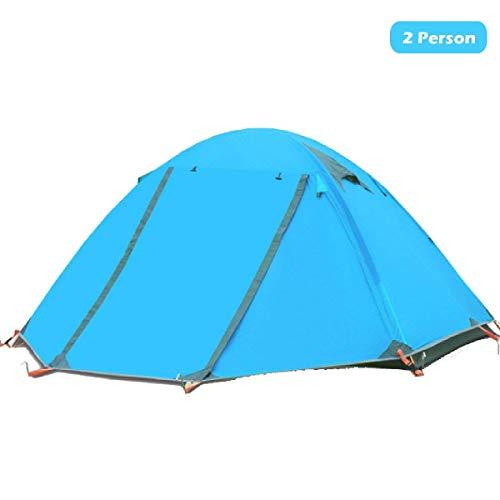Azarxis 1 2 Man Zelt 3 4 Saison Single One Zwei Personen Einfach Up Leichte wasserdichte Ultralight Double Layer für Backpacking Camping Wandern (Blau) -