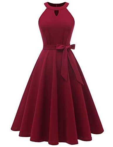 Dresstells Midi Sommer 1950er Vintage Neckholder Rockabilly Kleid Petticoat Cocktailkleid Burgundy XL Neckholder Petticoat