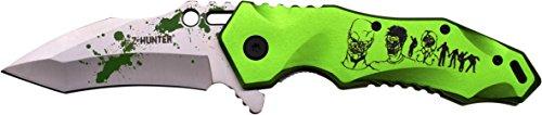 Z Hunter Outdoormesser, pocket clip, grün eloxiertes aluminium griff z-hunter logo, (Zombie Hunter Axt)