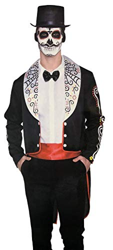 Brandsseller Herren Halloween Kostüm Day of The Dead Karneval Party Junggesellenabschied Verkleidung OneSize/Einheitsgröße Schwarz/Rot