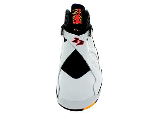 Nike Air Jordan 8 Retro, Chaussures de Sport Homme, 44.5 EU Multicolore - Blanco / Negro / Morado (White / Infrrd 23-Blk-Brght Cncr-)
