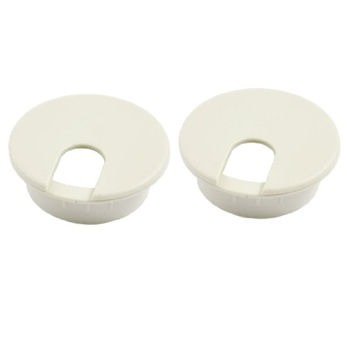 2Stück 34mm Kunststoff Kabel Tülle Covers Grau für Desktop-Tabelle