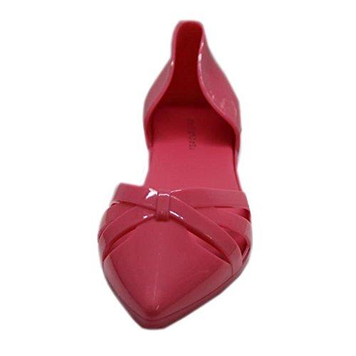 Chaussure plate d'été bout pointu en plastique Rose