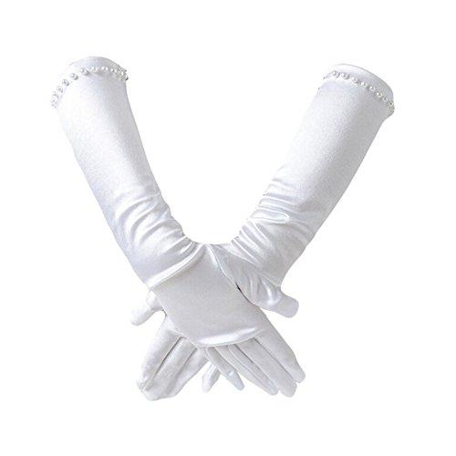Outflower Akkus Handschuhe Mädchen Einfachheit Fingerlose Satin Lang Hochzeitskleid Handschuhe...