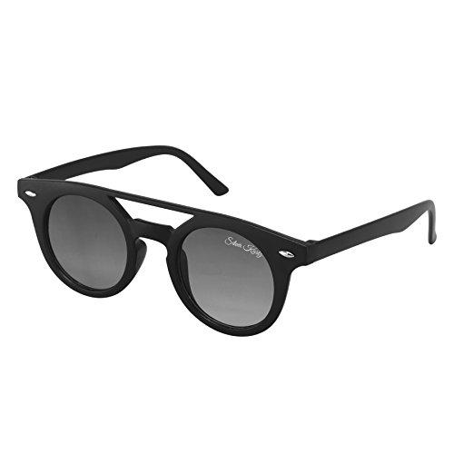 Silver Kartz Retro Black Double Gradient Round Sunglasses (wy187)