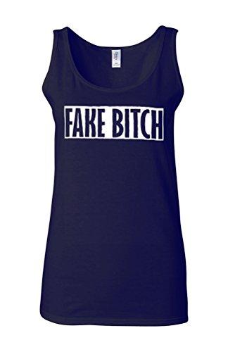 Fake Bitch Cool Vintage Novelty White Femme Women Tricot de Corps Tank Top Vest Bleu Foncé