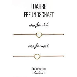 SCHOSCHON Damen Freundinnen/Mutter Tochter Armband Set Herz 925 Silber vergoldet | Beste Freundin Schmuck Geschenk Muttertag