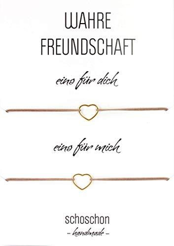 SCHOSCHON Damen Freundinnen/Mutter Tochter Armband Set Herz 925 Silber vergoldet | Beste Freundin BFF Schmuck Geschenk