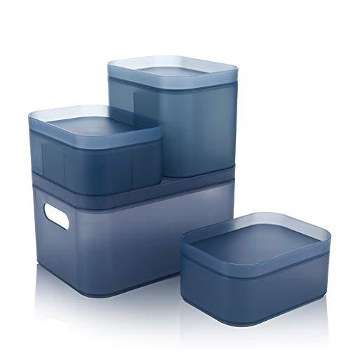 Happa Desktop Kosmetik lagerung matt Kunststoff Box Bad schminktisch Schreibtisch schutt Finishing Box geeignet (Color : Blue)