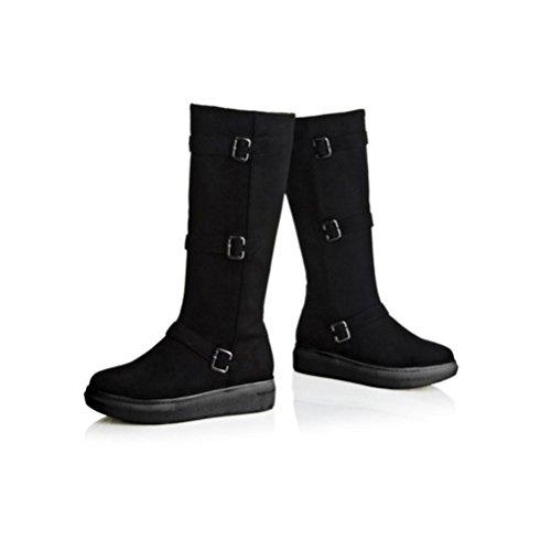 QPYC Boots impermeabili della caviglia della piattaforma delle signore dell'inarcamento della cinghia della testa rotonda più spessore della levigatura della parte inferiore della torta Stivali della  black