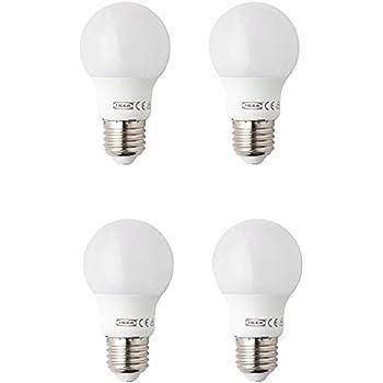 Paquete con 4 bombillas de LED Ryet de Ikea, encendido instantáneo, color blanco cálido, de 400 lúmenes, rosca E27, 15000 H, clase de energía a+