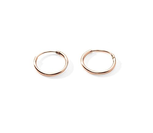 Premium Flash Rose Gold Plated Sterling Silver Small Endless Hoop Sleeper Earrings Cartilage Nose Lips 3/8 Inch 10mm