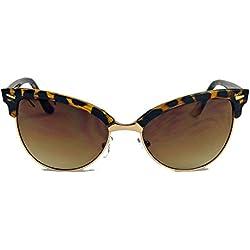 60er Jahre Browline Sonnenbrille für Damen im Vintage Look Halbrahmen Klarglas TC18 (Braun)
