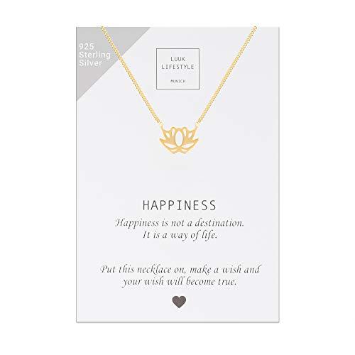 LUUK LIFESTYLE Sterling Silber 925 Halskette mit Lotus Anhänger und Happiness Spruchkarte, Glücksbringer, Damen Schmuck, gold