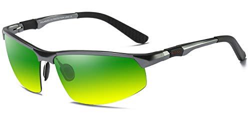 LZXC Nachtsichtbrillen Anti-Glanz Polarisiert Sonnenbrille Nachtfahr-Brille Fahrerbrille AL-MG METALL Outdoor Sportbrille