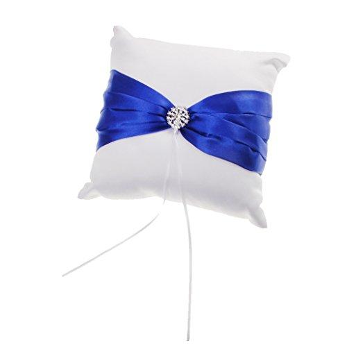 Cérémonie de Mariage Porteur Coussin de l'Anneau de Mariage de Satin Blanc avec Décor de Ruban Bleu Royal et Strass