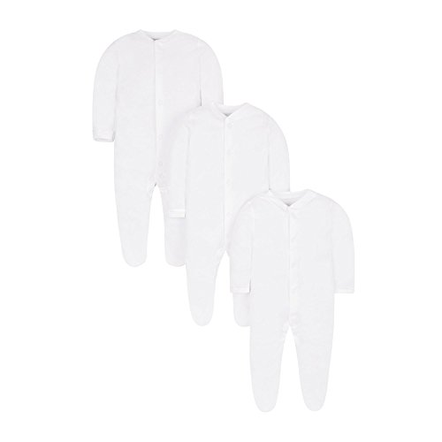 Mothercare White Sleepsuits-3 Pack Body