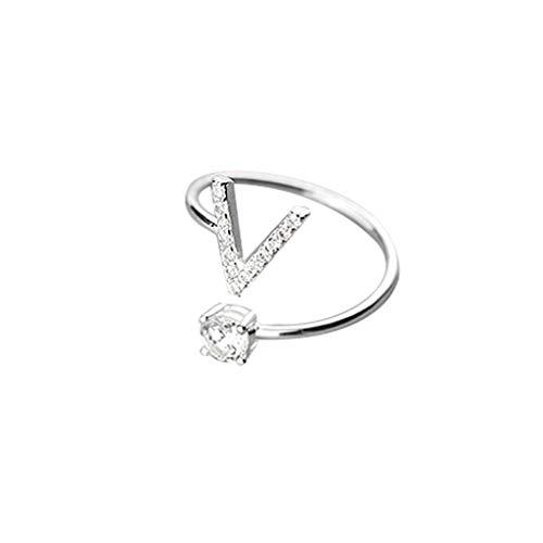 Vegan Diamant (UINGKID Schmuck Damen Ring Modische und einfache Öffnung 26 Buchstaben mit Diamant Ring Damen Schmuck)