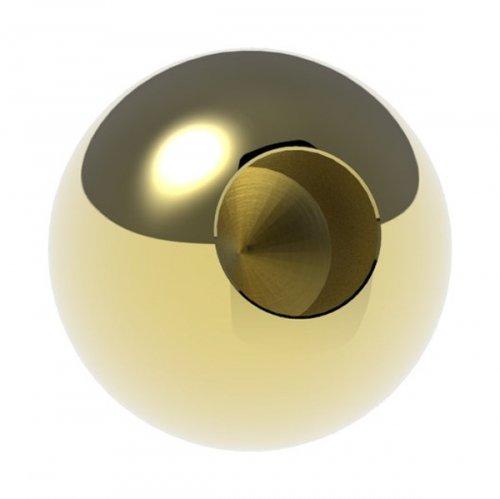 Messingkugel massiv ø 30mm, mit 12,2mm Sackloch, spezialbeschichtet für Innen- und Außenbereich