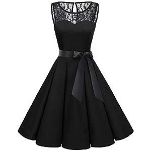 bbonlinedress 1950er Ärmellos Vintage Retro Spitzenkleid Rundhals Abendkleid