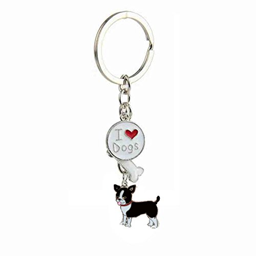 Zoonpark®-Hunde-Schlüsselanhänger, süßer kleiner Hunde-Schlüsselring, aus Metall, Metall, Black Chihuahua, Small -