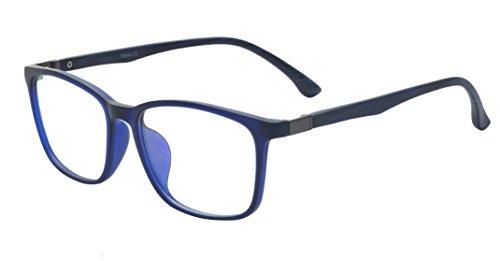 ALWAYSUV Voll Rahmen Rechteckig Klare Gläsern Optische Stärke Rahmen Brillenfassung Nerd Brille Blau