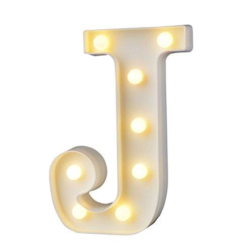 Letras del alfabeto de plástico blanco con luz LED, de la a a la z, para decoración de habitación e interiores, cumpleaños, bodas, fiestas, bares, J, Small