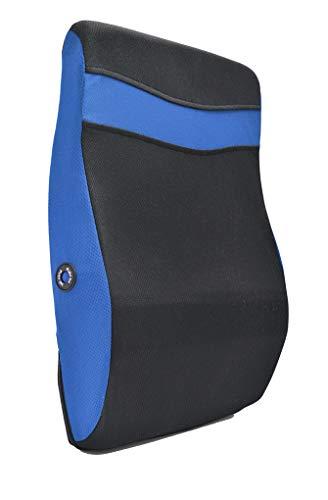 Rückenmassagekissen mit Vibrationsfunktion - Rückentherapie, Massagegerät, Lendenwirbelstütze, 2 Massage-Modi, entspannt die Muskeln - Verwendung im Home, Büro, Reisen und mehr blue blau (Tragbare Stuhl Unterstützt Den Rücken)