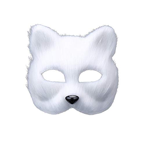 RENNICOCO Halloween Fox Maske Cosplay Kostüm Half Face Tier Kopfbedeckungen Caps Pelzigen Party Performance Zubehör Erwachsene Teen Cosplay Halloween Party ()