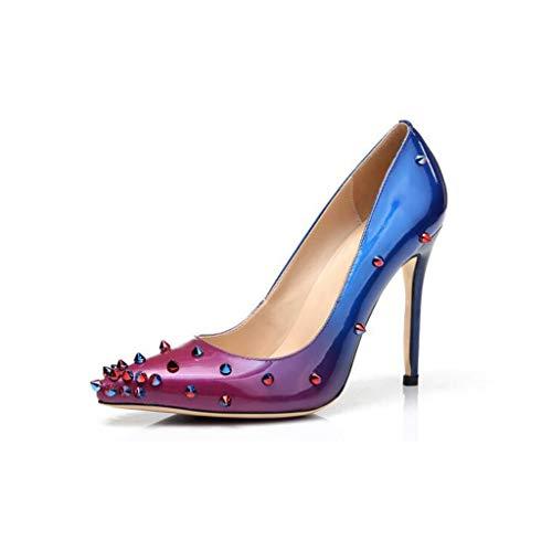 LYY.YY Frauen Spitzen Farbe Rivet Single Schuhe Gradient Stiletto Bar Party Abendkleid Flache Schuhe (Absatzhöhe: 12 Cm),Blue,43 -