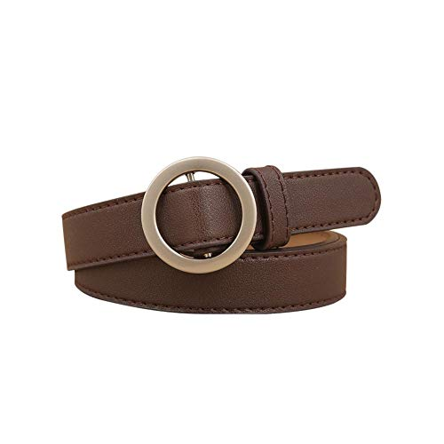 SH-Flying Round Buckle Belt for Women, Supply Casual Dress Belt for Women All-match Jeans Simple Belt Casual Dress Genuine Leather Belt