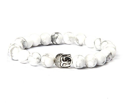 Good.Designs Buddhismus Perlenarmband aus Echten Natursteinen und Edler Buddha-Kopf Perle, Chakra-Schmuck für Damen und Herren, Yoga-Bracelet (Weißer Howlith)