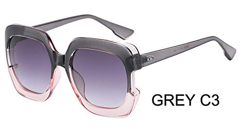 LKVNHP Sterne Kunststoff Festival Celebrity Square Übergroße Frauen Sonnenbrille Damen Oculos De Sol FemininoUV-SchutzWTYJ067 GRAU