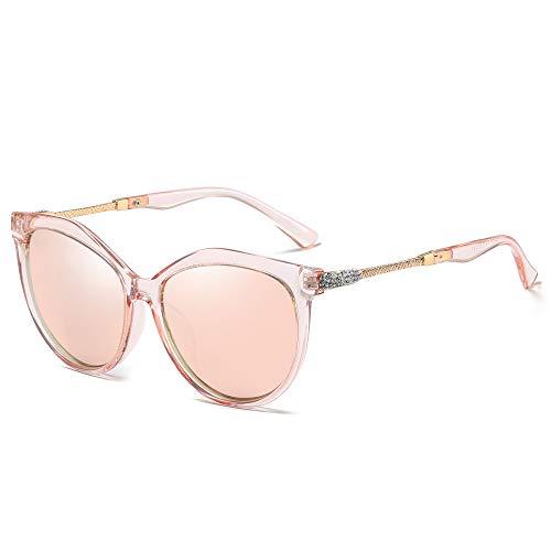WHCREAT Klassische Mode Polarisierte Sonnenbrille für Damen Cat-Eye UV400 Schutz Linse - Rosa Rahmen Rosa Linse