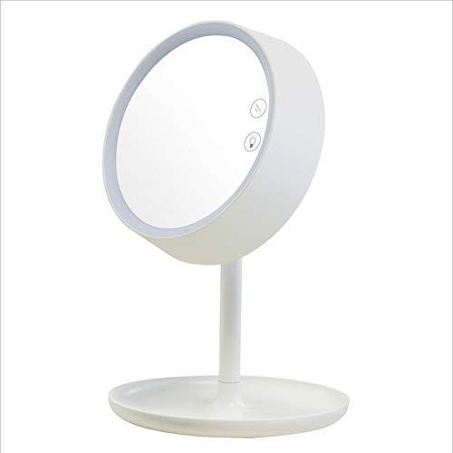 XIAHE Mode LED Tactile Lumière Beauté Maquillage Miroir Lampe De Table Miroir Batterie Au Lithium Lit Chambre Miroir Miroir Pliant Multifonctionnel (Couleur : Blanc)
