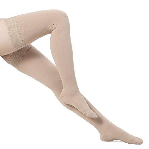 Bogeli Abgestufte Kompression Strümpfe Schließen Zehen Oberschenkel Hohe 15-20mmHg, Nude, Small -