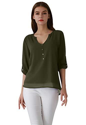 OMZIN Damen Chiffon Bluse V-Ausschnitt Henley Shirt Casual Langarm Oberteile XS-XXXL (Small, Armeegrün) -