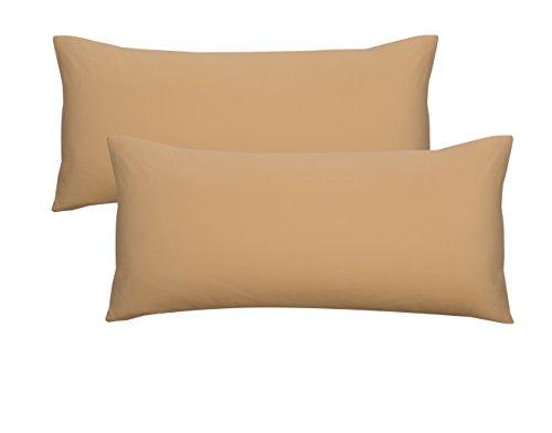 Biberna 0077144 Jersey-Kissenhüllen aus 100 % Baumwolle mit Reißverschluss, 2er-Pack, 40 x 80 cm Gold, 27 x 18 x 3 cm - Gold Kissenbezüge
