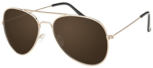 Original La Optica Unisex Piloten Sonnenbrille im Aviator Stil mit UV400 Schutz - Verschiedene Farben und Sets (Gold (Gläser: Braun))